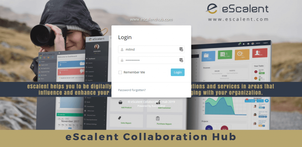 eScalent Applications Portfolio - Collaboration Hub Interface