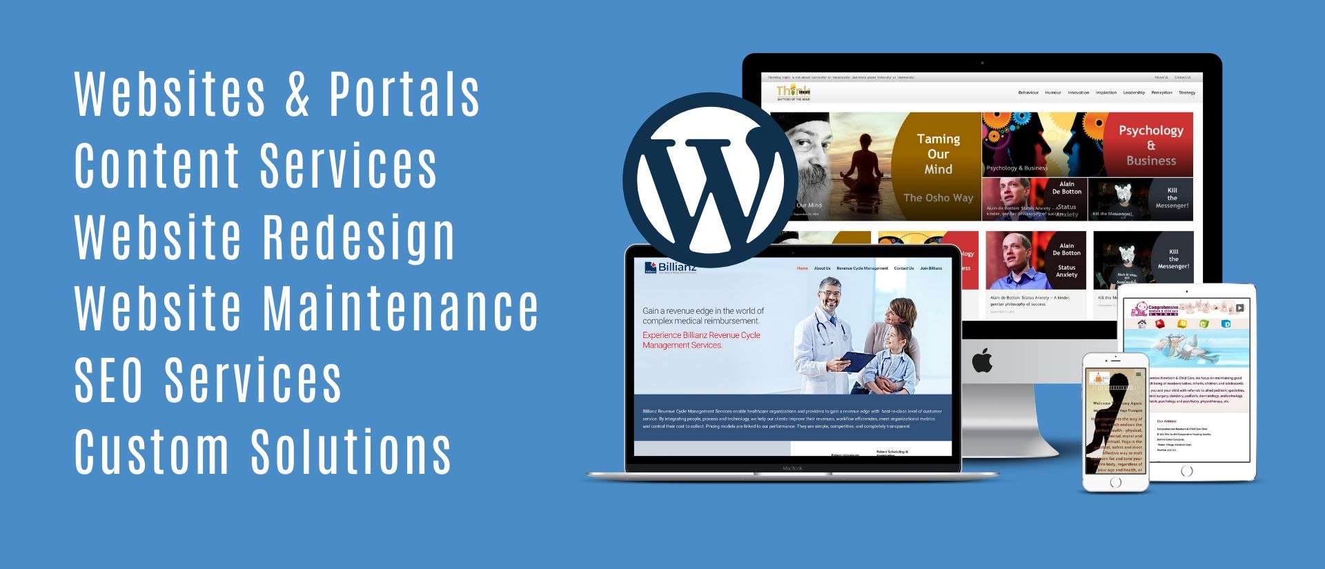This is the main banner page showing all services offered by eScalent - Website Design Agency in India
